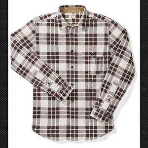 New Filson Cream & Brown Plaid Rustic Oxford Shirt